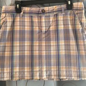 Old Navy Yellow Plaid Mini Skirt